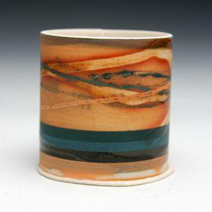 Small landscape form. Mono-printed porcelain. 6cm h x 6cm d. Sold