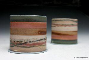 Small landscape forms. Mono-printed porcelain. 6cm h x 6cm d. Set of 2. Sold