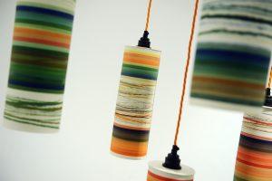 Tall porcelain lightshades, 18 x 38cm. £295 each